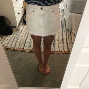 White free people denim skirt